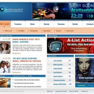 Entertainmnet Website Template