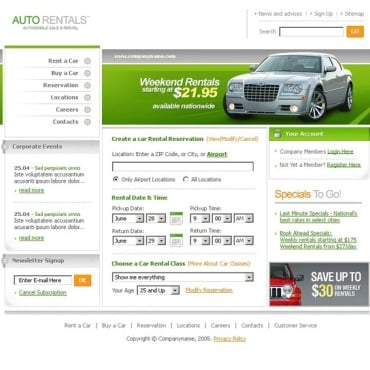 Car Rental SWiSH Template
