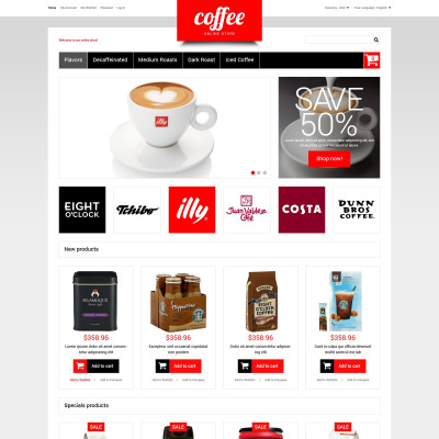 coffee shop responsive virtuemart template. Black Bedroom Furniture Sets. Home Design Ideas
