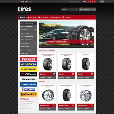 Responsive Tires Store OpenCart Template #45525