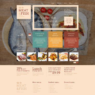 Meat  Fish Restaurant WordPress Theme #51089