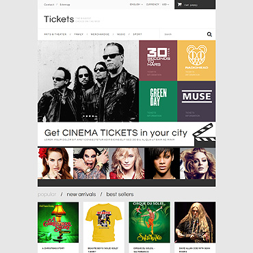 Tickets Website Responsive PrestaShop Theme