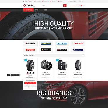Car Wheels Online Store Magento Theme #54541