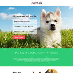 Dog Responsive Landing Page Template